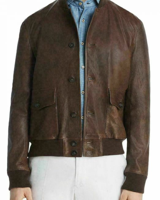 Dylan-Gray-Mens-Brown-Leather-Baseball-Coat-Bomber-Jacket-Outerwear-698-B4HP-114494607310