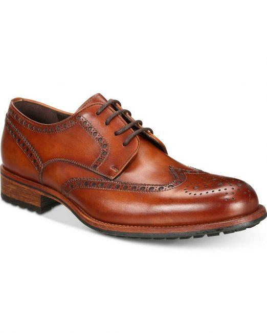395-Mens-Massimo-Emporio-Cap-Toe-Brogue-Oxfords-cognac-Size-US-75-M-114494612931