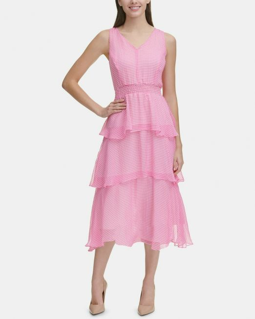 Tommy-Hilfiger-Gingham-Tiered-A-line-Midi-Dress-Hot-PinkIvory-Size-8-114494634101
