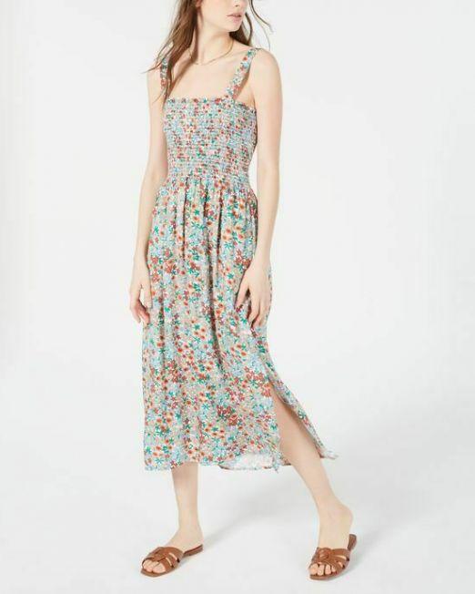 Womens-Be-Bop-Juniors-Smocked-Striped-Dress-Tangerine-Floral-Print-B4HP-114494588171