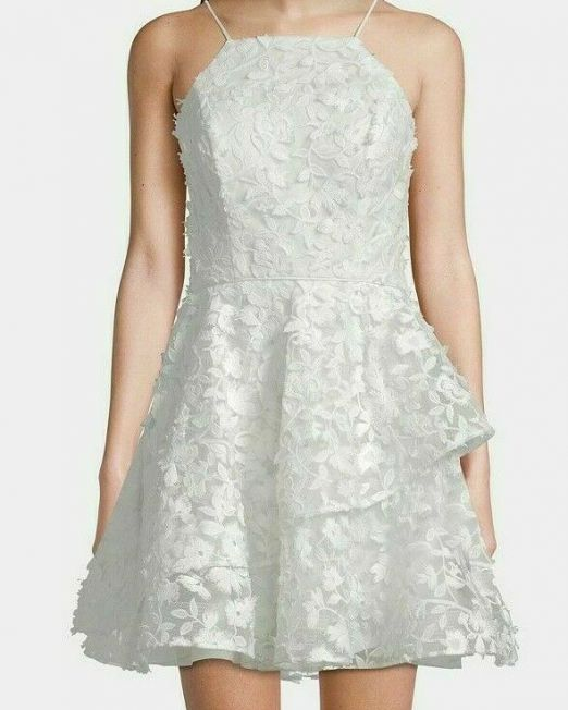 NWT-Women-Betsy-Adam-Halter-Ruffle-Lace-Fit-Flare-Ivory-8-114515116102