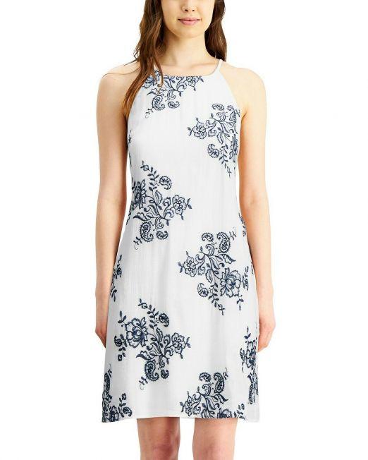 WOMEN-BCX-Floral-Navy-Embroidered-WHITE-Halter-Neck-Dress-2-sizes-B4HP-114491420262