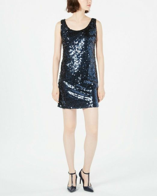 Womens-Calvin-Klein-Sequin-Tank-Holiday-Dress-Party-Navy-Pick-your-size-B4HP-114491420252