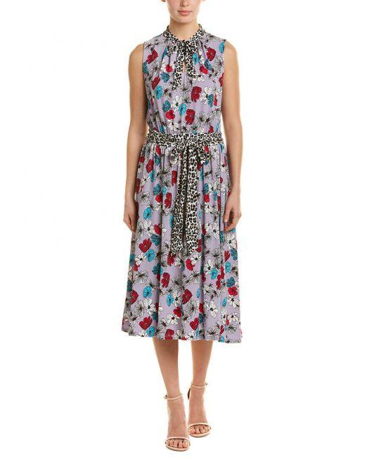Womens-Leota-Midi-Dress-Mindy-Tie-FrONT-Floral-Cheetah-Purple-Small-B4HP-114512851722