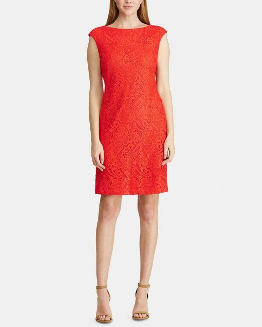 Lauren-Ralph-Lauren-Petite-Lace-Cap-Sleeve-Dress-Summer-Poppy-14P-114494634124