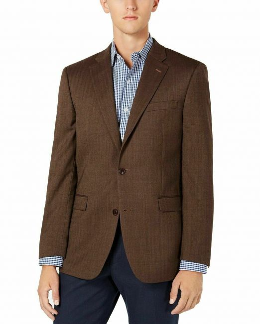 Tommy-Hilfiger-Mens-Blazer-Brown-Size-40-Long-Stretch-Two-Button-Wool-114494642345