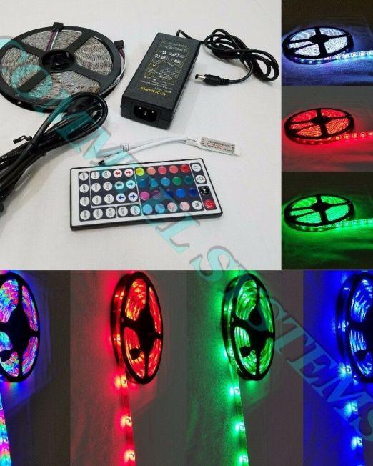 5M-RGB-3528-5050-Waterproof-LED-light-44-Key-Remote-12V-Power-Supply-Christmas-114491304956