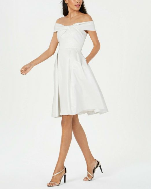 Womens-Calvin-Klein-Twisted-Off-The-Shoulder-A-Line-Dress-Silver-Holiday-Party-114491411076