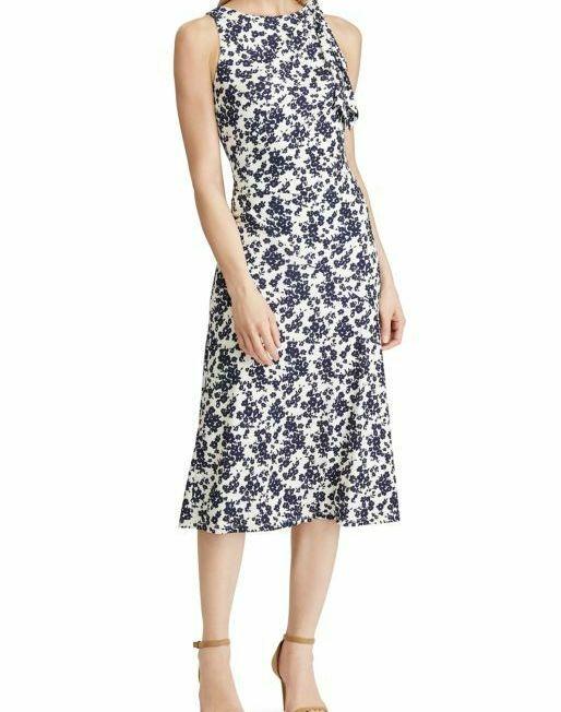 WOMENS-LAUREN-RALPH-LAUREN-Floral-Jersey-Dress-CREAMNAVY-SIZE-14-114494634167