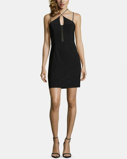 Women-XSCAPE-Ladder-Front-Bodycon-Dress-Black-Size-2-114580895677