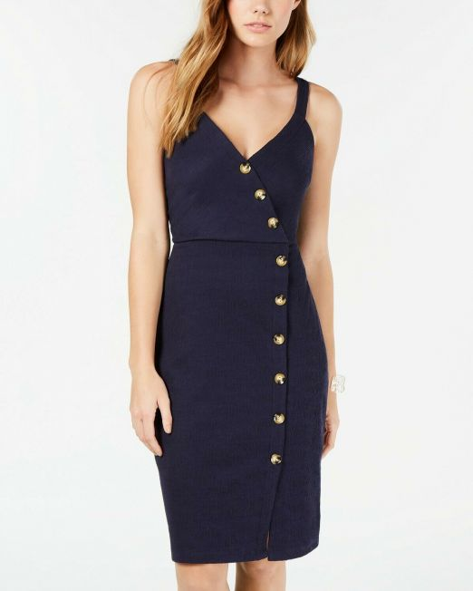 BCX-women-Juniors-Button-Trimmed-Midi-Dress-NAVY-BLUE-pick-your-size-114491411039