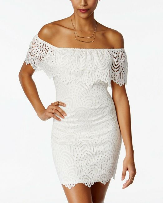 Material-Girl-Juniors-Off-The-Shoulder-Lace-Ruffle-Bodycon-Dress-2-colors-LARGE-114491420249