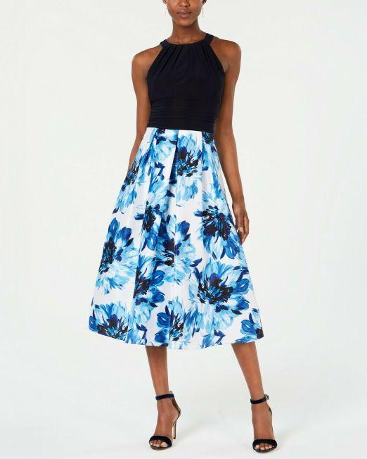 SL-Fashions-Solid-Floral-Print-Halter-Neck-Midi-Dress-NavyWhite-16-114515116109