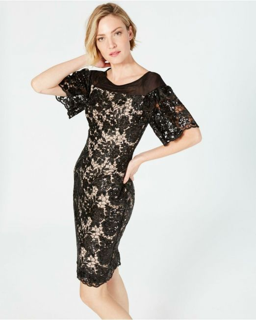 Women-Calvin-Klein-Embellished-Lace-Sheath-Dress-Black-with-Nude-lining-B4HP-114491375239